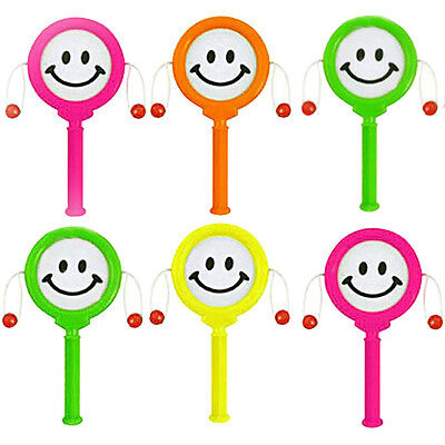 6 Mini Smiley Face Spin Hand Drum Pinata Toy Loot/Party Bag Fillers Wedding Kids