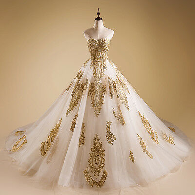 New White/Ivory Bridal Ball Gown Gold Appliques Wedding Dress Custom Size 2-22++