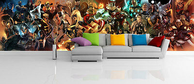 Marvel Comics Characters Superhero Full Wall Mural Photo Wallpaper Home Dec Kids