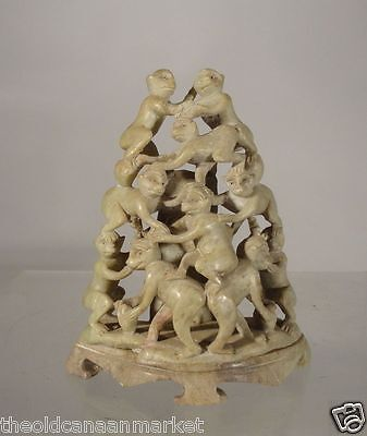 Antique Chinese Carved Soapstone Staute 10 Monkeys As Is