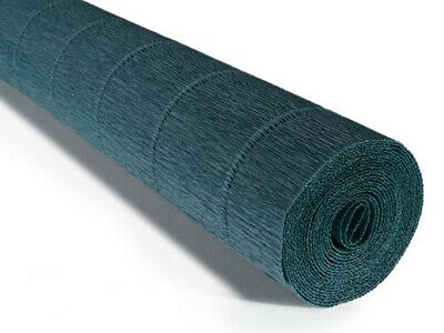 Dark Teal Green Crepe paper roll 50cm x 2.5m Top quality Italian paper