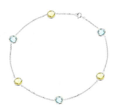 14K White Gold Anklet Bracelet With Lemon Topaz And A Pear Shape Drop 9.5 Inches