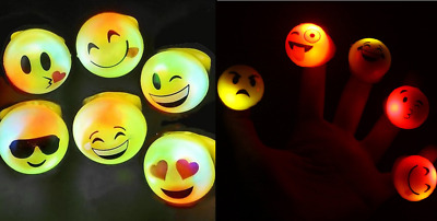 2 to 96 Flashing LED Emoticon Emoji Jelly Rings Party Bags Favours Wholesale UK