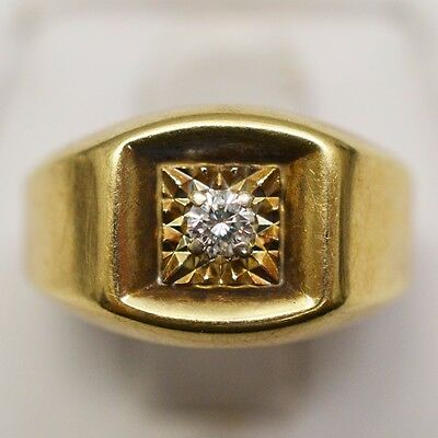 10k Yellow Gold Solitaire Diamond 0.10 ct, Ring Size 7.25