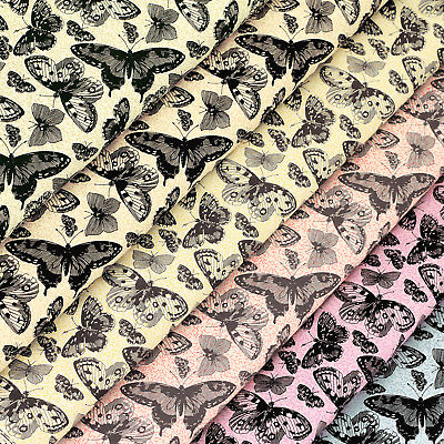 Cotton Print Fabric by FQ Wild Butterfly Vintage Retro Dress Quilt Patchwork VS2