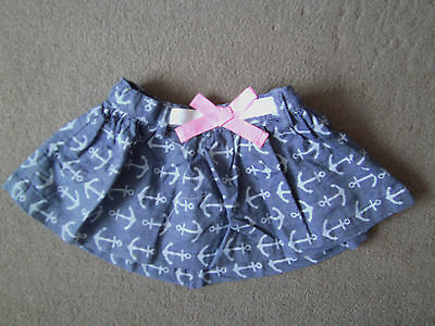 Baby Mini Skirt Girls Kids Toddler Children Cute Blue Cotton Anchor 6-18 months