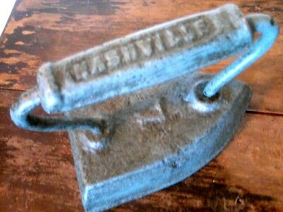 "Vintage Cast Iron ""Nashville"" Handle Clothes Iron Painted Light Dusty Blue Decor"