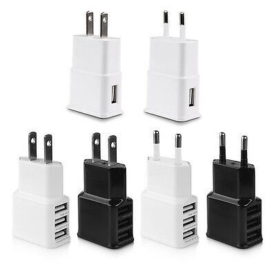 5V 2A USB Power Wall Charger Adapter 1/3 Port Charging Cable For Samsung iPhone