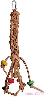 Leather Plait natural tanned bird toy
