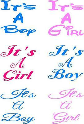 2 x Its a Girl or Boy Wine Glass Decal Stickers Special Occasion keep sake 1
