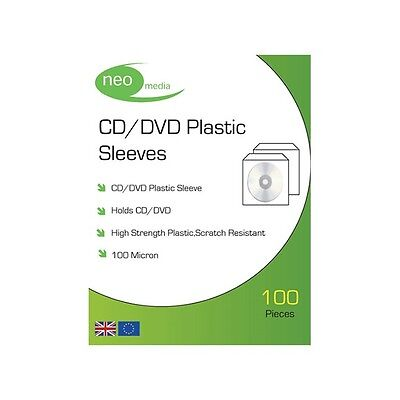 5 x NEO MEDIA PVC CD/DVD PROTECTIVE SLEEVE (100 MICRON) / 100 PER PACK