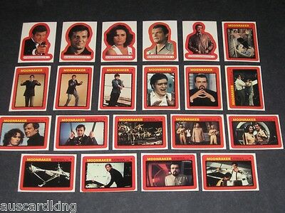 James Bond 007 - Moonraker - Sticker Trading Card Set (22) - 1979 TOPPS - NM