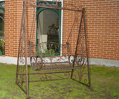 Victorian Romantic Metal Swing Bench Love Seat Hammock Vintage Antique Brown • £409.00