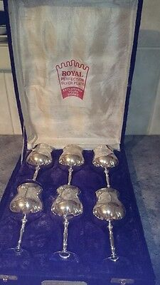 Vintage Silver Plated Australian Made 6 Goblets In Original Box, Solid Weight