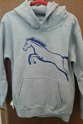 NEW British Country Collection Childs Grey Hoodie Horse Jump Sizes 3 - 13 Yrs