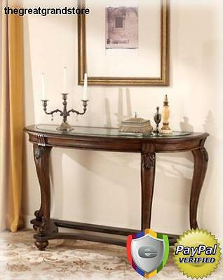 Modern and Traditional Dark Brown Wood Sofa Table with Solid Accent of Norcastle