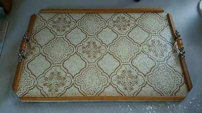 Vintage Handmade Serving Tray With Retro Vinyl Top & Brass Handles.  X Large.