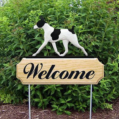 Rat Terrier Wood Welcome Outdoor Sign Black/White