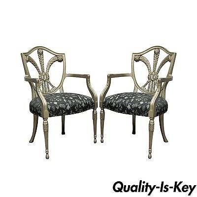 Pair of Silver Sheraton Styl Shield Back Plume Prince of Wales Dining Arm Chairs