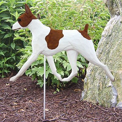 Rat Terrier Outdoor Garden Sign Hand Painted Figure Red/White