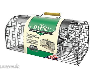 Self Set Humane Live Multi Catch Rat Trap Cage Catches up to 5 Rats At Once 080