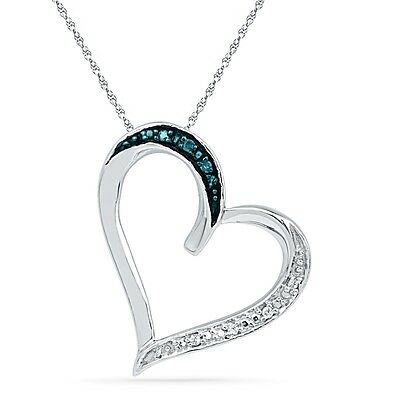Blue And White Diamond Heart Pendant Necklace in Sterling Silver