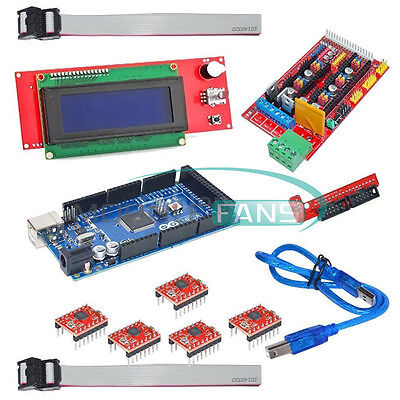 1Set 3D Printer Kit RAMPS+2004 LCD Controller+MEGA 2560 R3+A4988 Driver New