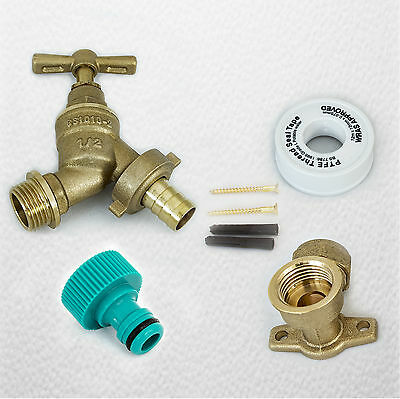 Outside Tap Kit | Garden Hose Fitting, 15mm Wall Mounting Plate, Screws and PTFE