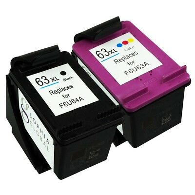 2 Combo Ink Cartridges for HP 63XL Envy 4520 4526 Officejet 3830 4650 HP63XL