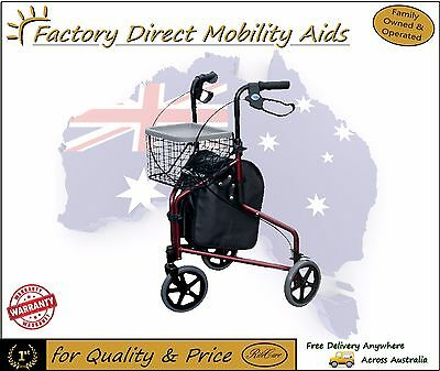 Three Wheel Walker Rollator comes with vinyl bag for storing things