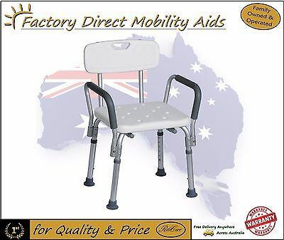 Aluminium Shower Chair stool with Removable Arms / value!