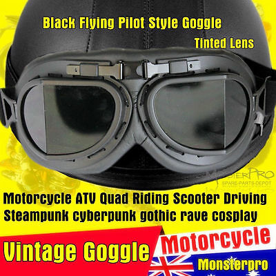 Harley Motorcycle Open face Helmet Flying style Goggles Cruiser Moped Bike