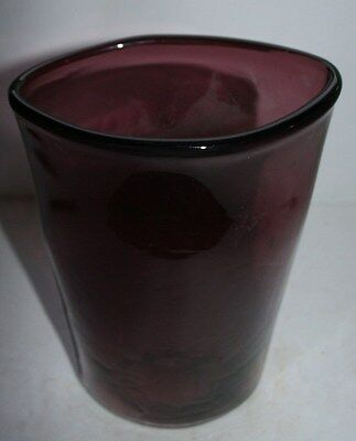 antique purple amethyst hand blown? wavy glass table vase