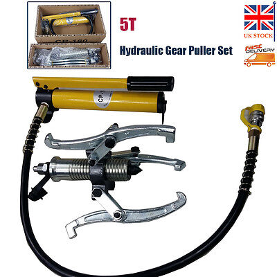 Heavy Duty 5T Hydraulic Gear Puller Set Separator Hub Tool 3 Jaws External Pump