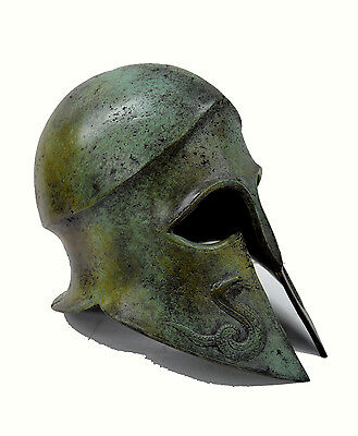 Ancient Greek Helmet Snake carved solid bronze real size great helmet artifact