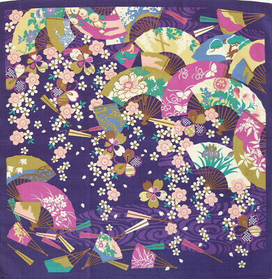 Sakura Ougi Floral Purple Japanese Furoshiki Wrapping Cloth TB7