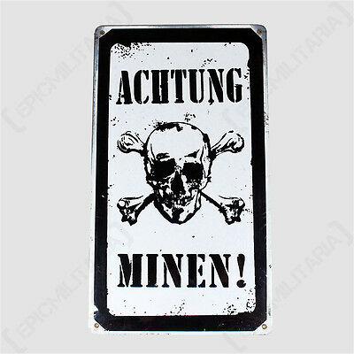 Vintage ACHTUNG MINEN METAL SIGN German Army WW2 Military Plaque WARNING MINES