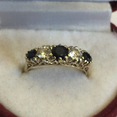 Vintage Solid 9ct Yellow Gold Hallmarked Sapphire & CZ Dress Ring Size L