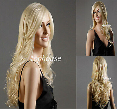 Lady Blonde Womens Long Natural Curly Wavy Wigs Party Full Wig  Hair Fashion UK