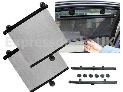 2 X Car Window Sun Shade Roller Blind Screen Protector Protection Children 55Cm