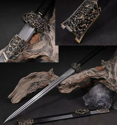DAMASCUS FOLDED STEEL DOUBLE bo_hi BLADE TAUREN CHINESE SWORD HAN JIAN SHARP