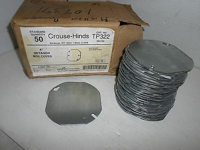 """New Box Of 50 Crouse-Hinds Tp322 4"""" Octagon Box Flat Cover *** New In Box ***"""
