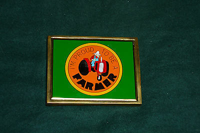 "Vintage 1983 NAP Solid Brass Belt Buckle ""I'm Proud To Be A Farmer"""