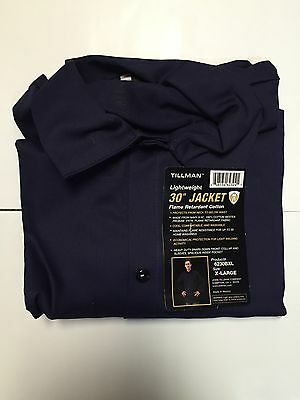 Tillman 6230B 9oz Navy Blue FR Cotton Welding Jacket XL