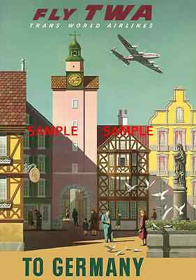 "GERMANY TWA  Airlines 11/"" x 17/"" Collector/'s Travel Poster Print B2G1F"