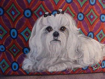 Maltese Hand Painted Tote Very Pretty!
