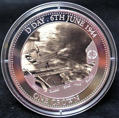 2014 70th Anniversary of D-DAY 6th June 1944 - SILVER-PLATED ONE CROWN COIN -TDC
