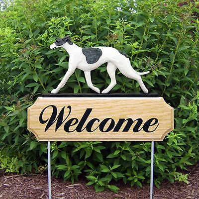 Greyhound Oak Wood Welcome Outdoor Yard Sign Blue/White
