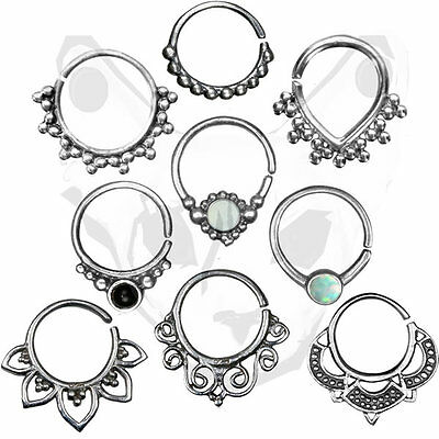 Sterling Silver Indian Tribal Clicker Septum Ring Captive  Nose Piercing Tragus