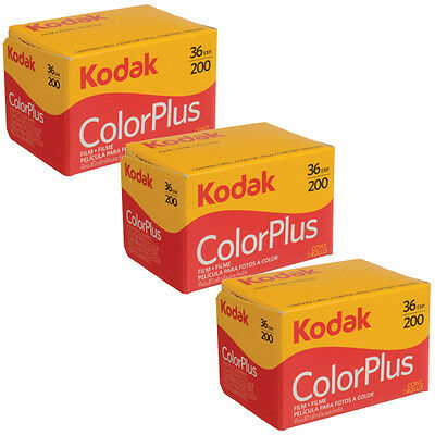 3 Rolls Kodak Color Plus 200 35mm Negative Film ColorPlus 135-36 exp. FRESH